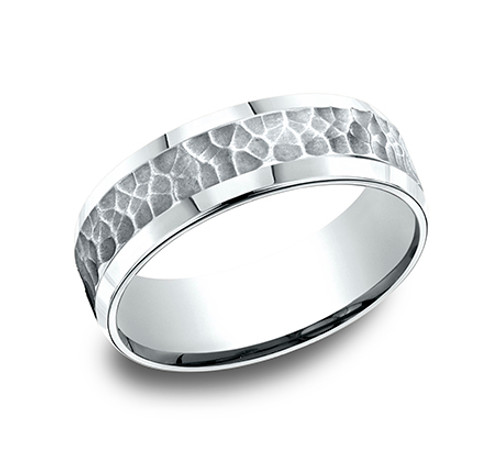 Comfort-Fit, Carved Wedding Band with a Hammer Finish Center and High Polished Beveled Edges