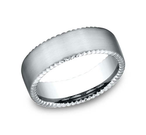 Comfort-Fit, Carved Wedding Band with Coin Edge Detailing and a Satin Finish