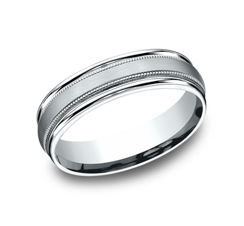 Comfort-Fit, Carved Wedding Band with a Satin Finished Center, Milgrain and a High Polish Round Edge