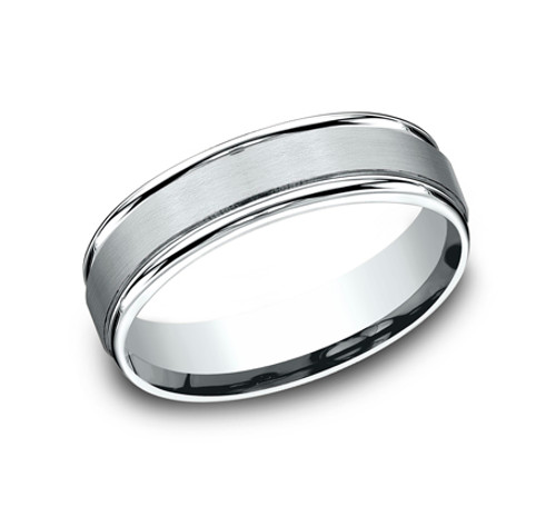 Comfort-Fit, Carved Wedding Band with a Satin Finished Center and a High Polish Round Edge