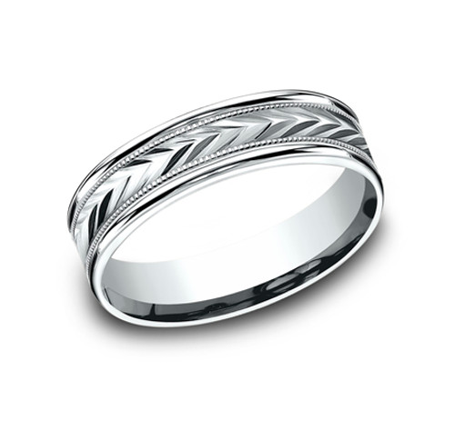 Comfort-Fit, Carved Wedding Band with Milgrain and a Textured Chevron Pattern