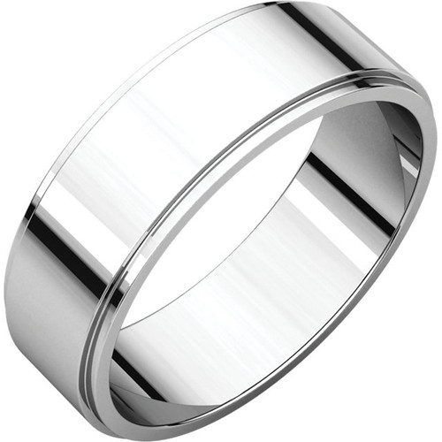 Flat Edge Style Wedding Band with a High Polish Finish in a 6mm Width