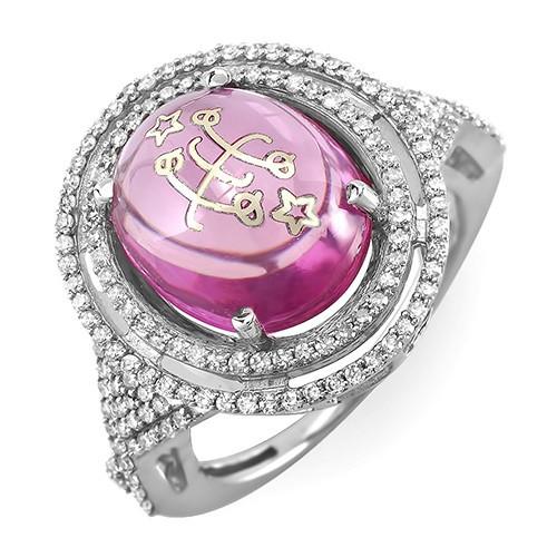 14k White Gold Pink Cabochon Double Halo Baha'i Ringstone