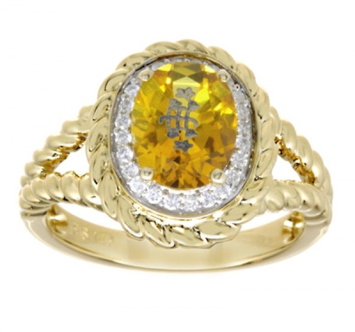 14k Yellow Gold Rope Detail Halo Gold Oval Baha'i Ringstone