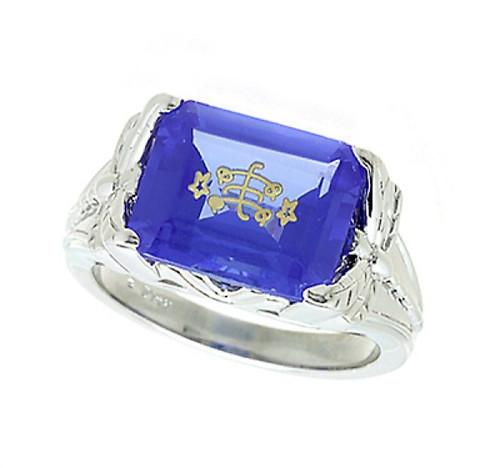 14K White Gold Dragonfly Blue Emerald Cut Baha'i Ringstone
