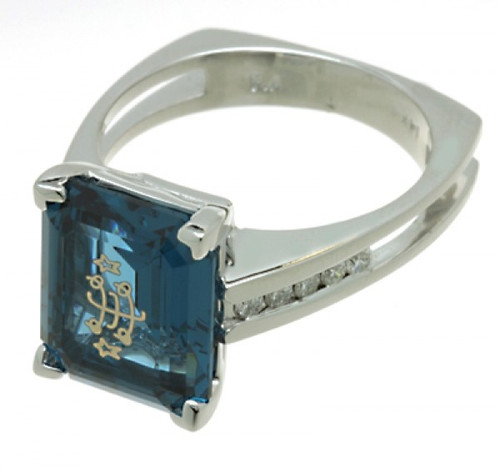 14K White Gold Open Channel Cathedral Emerald Cut London Blue Baha'i Rinstone