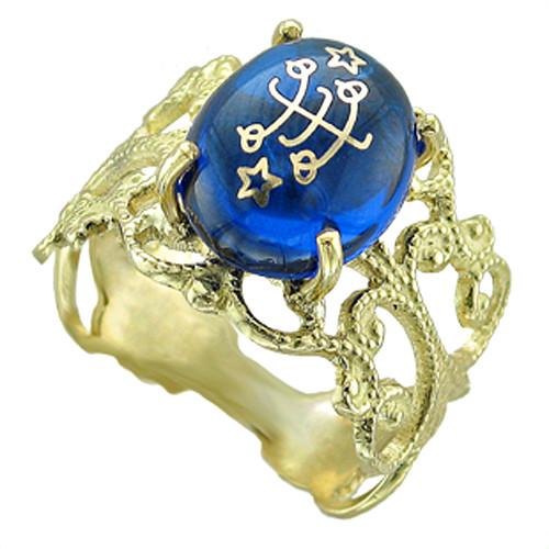 18K Yellow Gold Filigree Blue Cabachon Baha'i Ringstone