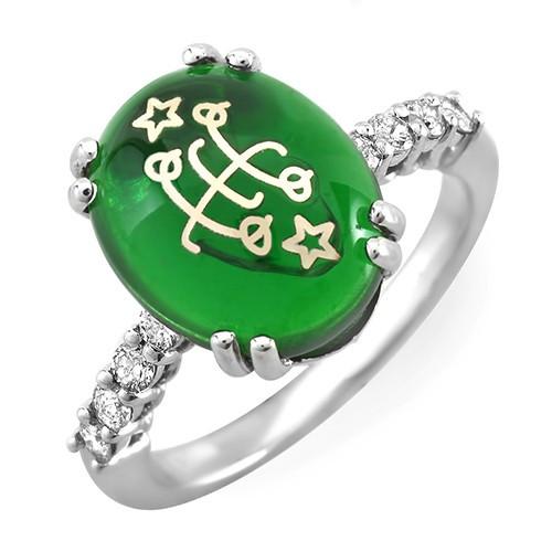 14K White Classic Diamond Green Cabochon Baha'i Ringstone