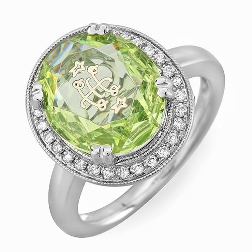 14K White Gold Milgrain Halo Lime Green Oval Baha'i Ringstone