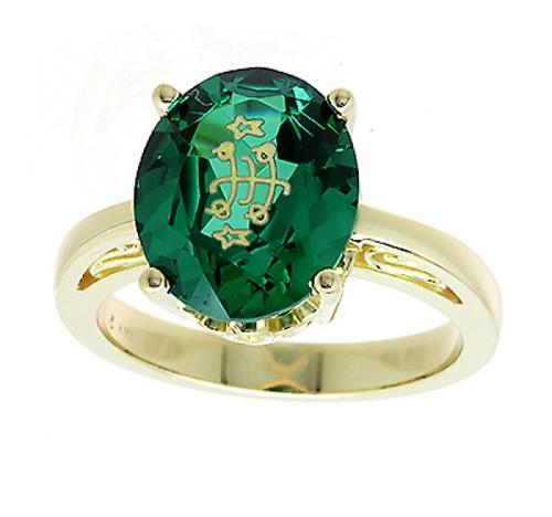 14K Yellow Gold Filigree Solitaire Oval Green Baha'i Ringstone