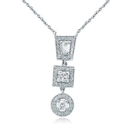 14K White Gold Multi-Shape Drop Necklace