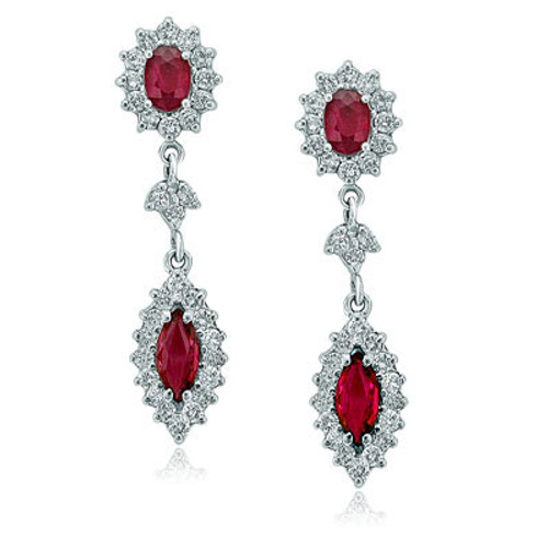 14kt White Gold Marquise Ruby Drop Earrings
