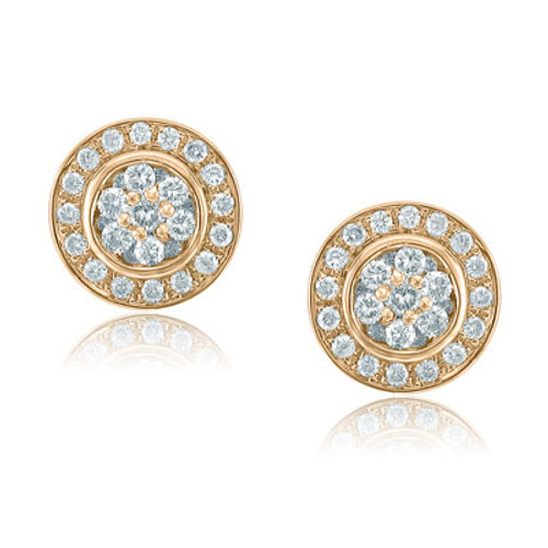14kt Rose Gold Halo Cluster Earrings