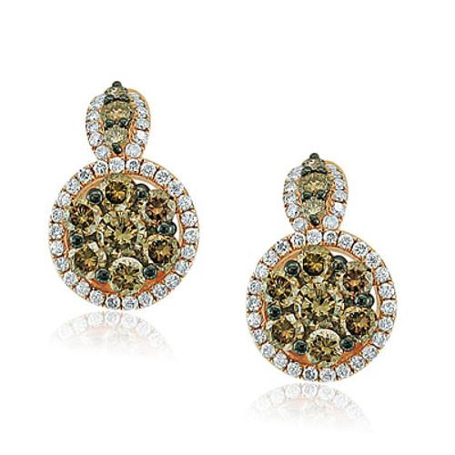 14kt Rose Gold Brown Diamond Cluster Halo Earrings