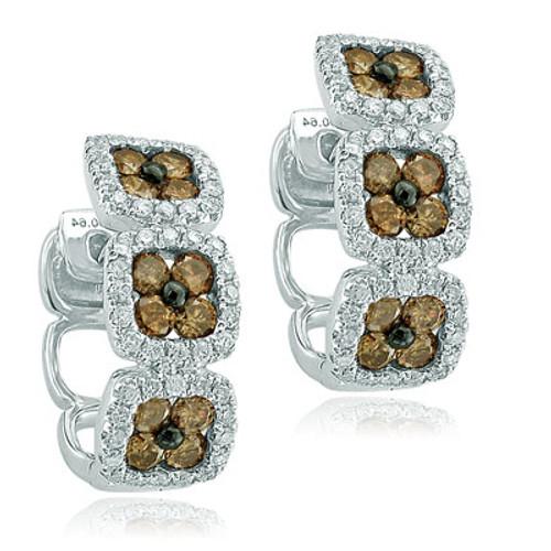 14kt White Gold Brown Diamond Cluster Hoop Earrings