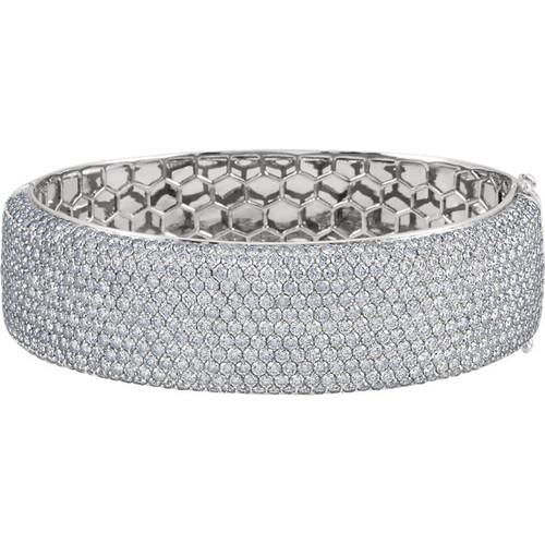 18kt White Gold Wide Pave Cuff Bracelet