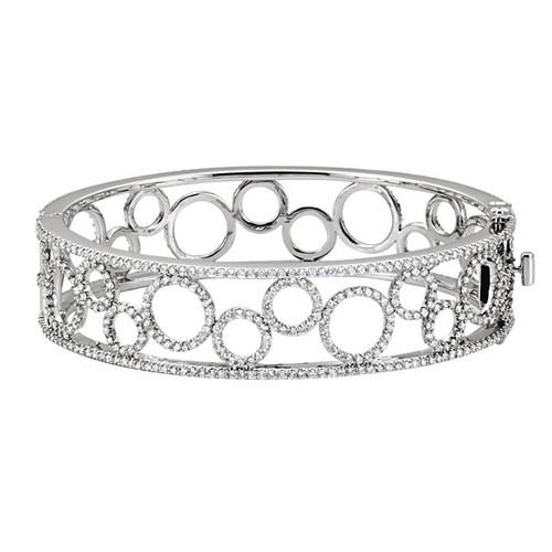 14kt White Gold Bubble Eternity Style Diamond Bangle