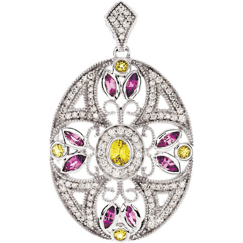 14kt White Gold Pink and Yellow Sapphire Diamond Accent Pendant