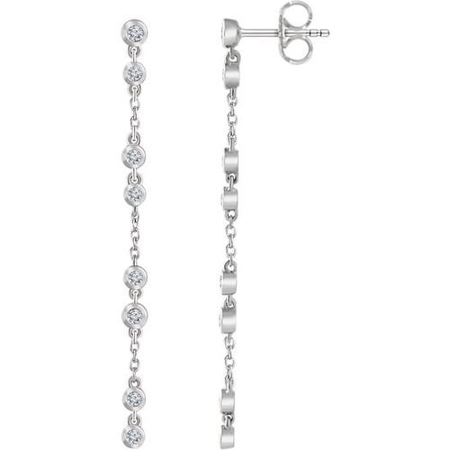 14kt Gold Bezel Diamond Chain Drop Earrings