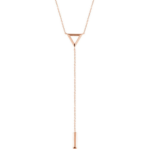 14kt Gold Triangle and Bar Lariat Necklace