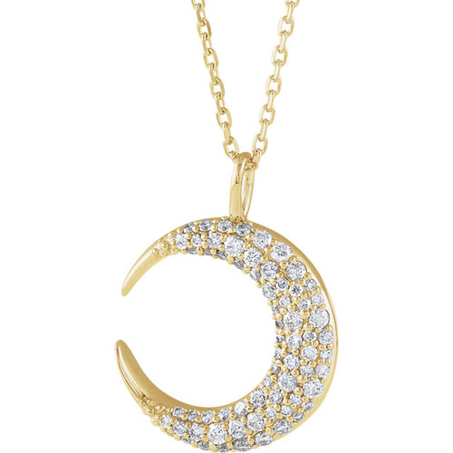 14kt Gold Pave Diamond Accent Moon Pendant