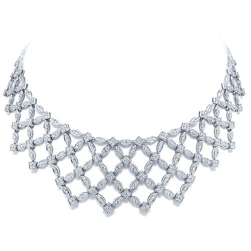 18kt White Gold Diamond Lattice Bib Necklace