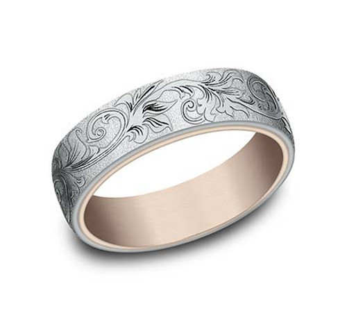 14KT White and Rose Gold Carved Scroll Gent's Band