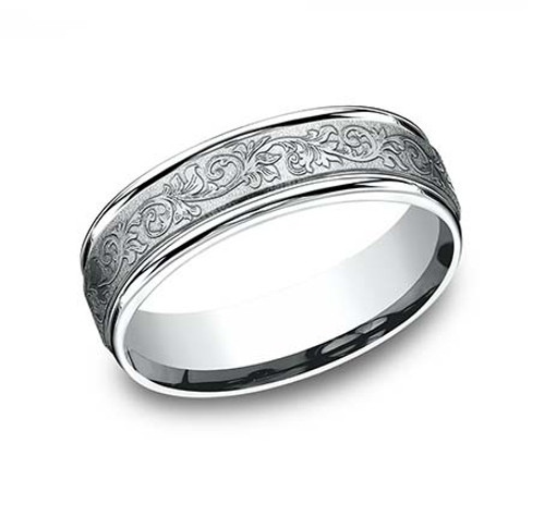 14kt White Gold Carved Scroll Gent's Band