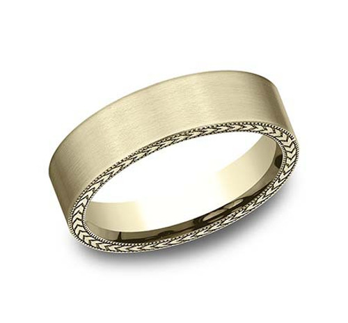 14kt Yellow Gold Carved Profile Gent's Band