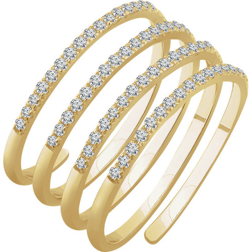 14kt Gold Spiral Ring with Round Diamonds