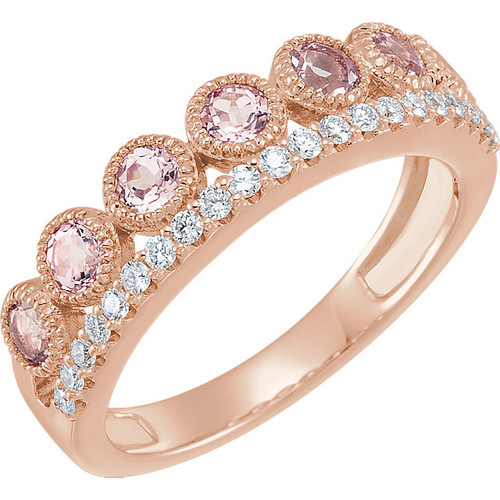 14kt Rose Gold Stacklable Diamond and Morganite Cocktail Ring