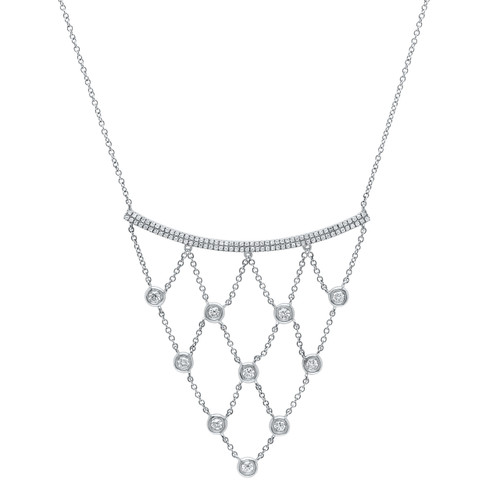 14kt Gold Chain and Bezel Bib Necklace
