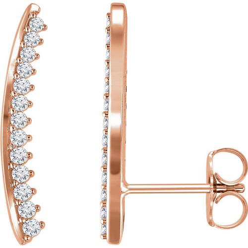 14kt Gold Bar Prong Set Climber Earrings