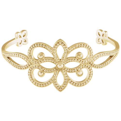 18kt Gold Granulated Filigree  Vintage Cuff Bracelet
