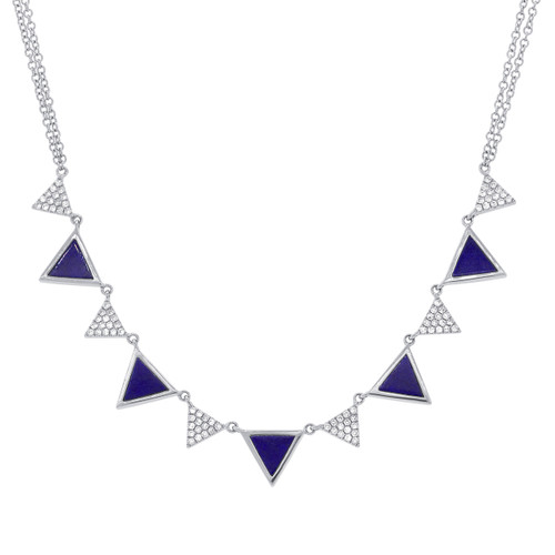 14kt Gold Diamond and Lapis Inlay Necklace