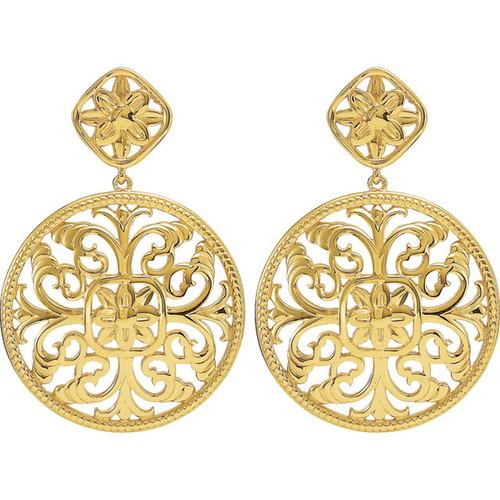 14kt Gold Filigree Disc Earrings