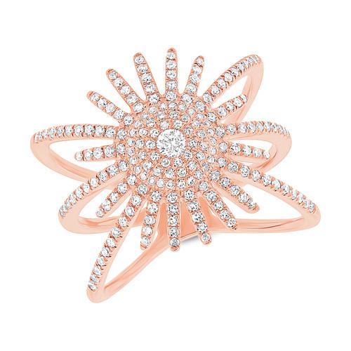 14kt Gold Round Diamond Sunburst Ring