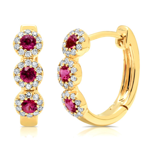 14kt Gold Ruby and Diamond Halo Hoop Earrings