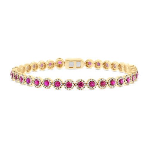 14kt Gold Ruby and Diamond Halo Large Tennis Bracelet