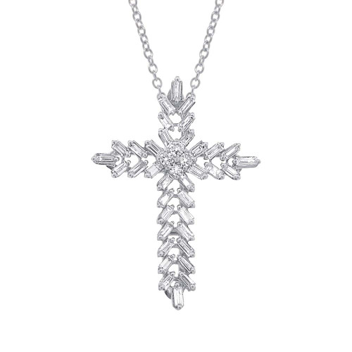 18kt Gold Baguette and Round Diamond Cross