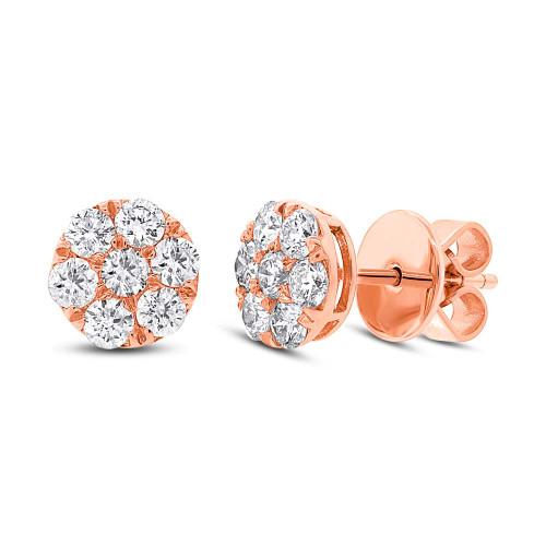 18kt Gold Round Diamond Cluster Stud Earrings