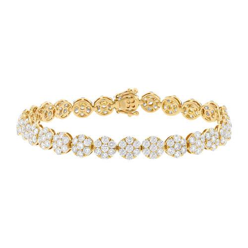 18kt Gold Round Diamond Cluster Tennis Bracelet