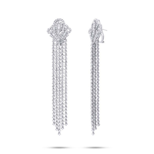 18kt White Gold Round and Baguette Chandelier Earrings