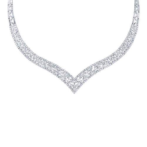 18kt White Gold Diamond Leaf Chevron Necklace
