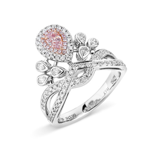 18Kt White and Rose Gold Pink Diamond Crown Ring