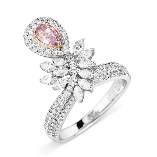 18kt White and Rose Gold Pink Diamond Vine Ring