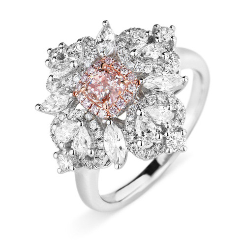 18kt White and Rose Gold Fancy Halo Radiant Pink Diamond Ring