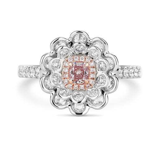 18kt White and Rose Gold Flower Halo Pink Diamond Ring
