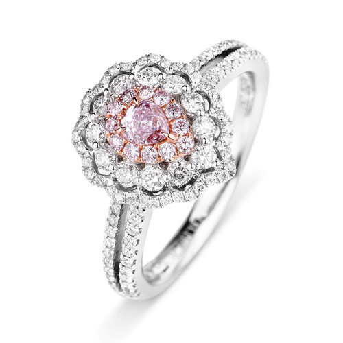 18kt White and Rose Gold Pink Pear Shaped Scalloped Halo Ring