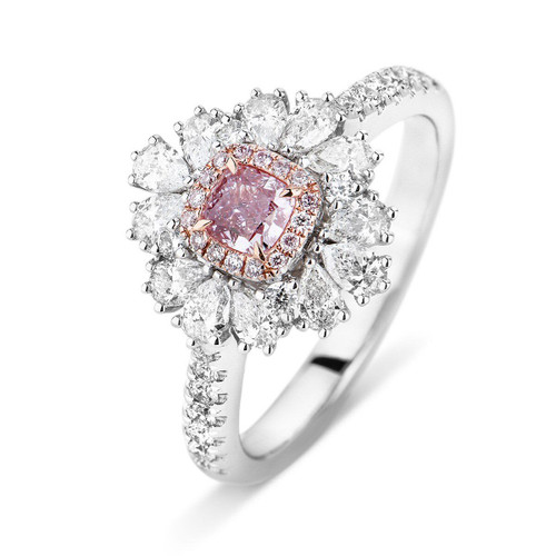18kt White and Rose Gold Fancy Halo Pink Cushion Diamond Ring